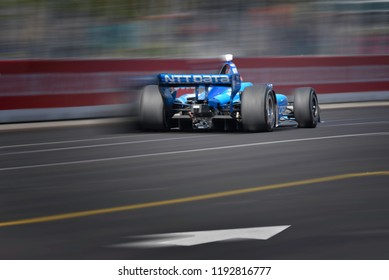 Toronto, Ontario, Canada - July 15 2018:  Ed Jones in the Honda Indy race at Exhibition Place