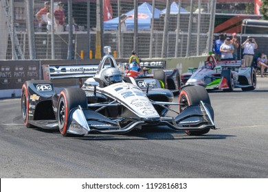 Toronto, Ontario, Canada - July 15 2018:  Simon Pagenaud in the early stages of the Honda Indy race at Exhibition Place
