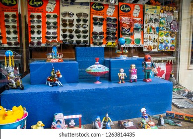 Toronto, Ontario, Canada, July 15th 2007: Window of a toy shop in Toronto, Canada  displaying retro clockwork metal toys.