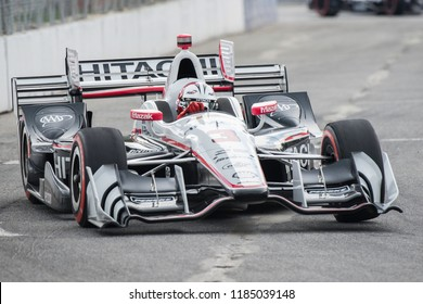 Toronto, Ontario, Canada - July 16, 2017:  Helio Castronevas at the Honda Indy race at Exhibition Place