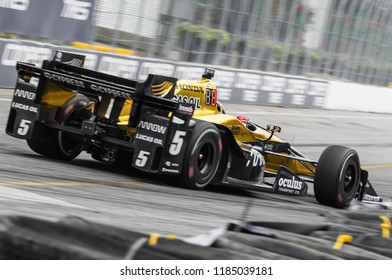 Toronto, Ontario, Canada - July 16, 2017:  James Hinchcliffe on his way to 3rd place in the Honda Indy race at Exhibition Place