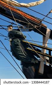 Toronto, Ontario, Canada - July 2, 2010: Figurehead of the lady Bethia on the tall ship HMS Bounty