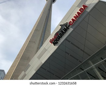 Toronto, Ontario / Canada - July 20 2018: A image of Ripley's Aquarium and the lower section of the CN Tower
