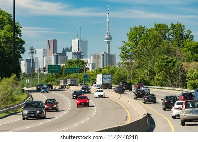 Toronto, Ontario, Canada - July 3, 2018:  Downtown as viewed from Don Valley Parkway southbound mid-morning in summer.