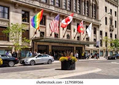Toronto, Ontario, Canada - June 10, 2018: The Fairmont Royal York Hotel  is a luxury hotel in downtown Toronto.
