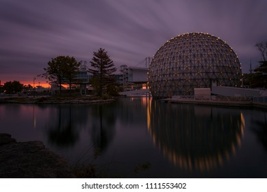 Toronto, Ontario / Canada - June 12, 2018: The Ontario Place Cinesphere at dusk.