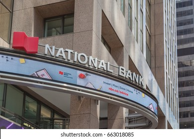 TORONTO, ONTARIO, CANADA - JUNE 18, 2017: Sign of National Bank on the building in Toronto's financial district Toronto, Ontario.