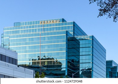 Toronto, Ontario, Canada - June 25, 2018: Sign of Ferrero Canada on the building in Toronto. Ferrero SpA is an Italian manufacturer of branded chocolate and confectionery products.