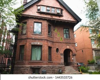 Toronto, Ontario / Canada - June 27 2019: Fraternity house - Lambda Chi Alpha - U of T St.George campus