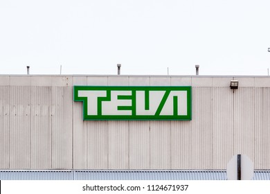 Toronto, Ontario, Canada - June 30, 2018: Sign on the Teva Canada on the headquarters in Scarborough. Teva Pharmaceutical Industries Ltd. is an Israeli multinational pharmaceutical company.