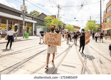TORONTO, ONTARIO, CANADA - JUNE 6, 2020: Anti-Racism March, in solidarity with Black Lives Matter and against the death of George Floyd and police injustice.