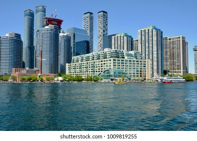 Toronto, Ontario, Canada - June 7, 2017: View from Lake Ontario of development at Toronto Harbour front