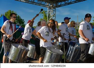 Toronto, Ontario, Canada - June 9, 2013: T. Dot. Batu Brazilian Batucada Band performing at the Muhtadi Drum Festival Toronto