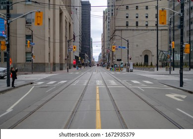 Toronto, Ontario, Canada - Mar 14, 2020: An empty bay st with the Covid pandemic happening.
