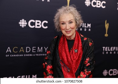 TORONTO, ONTARIO, CANADA - MARCH 11, 2018: Margaret Atwood at Canadian Screen Awards.