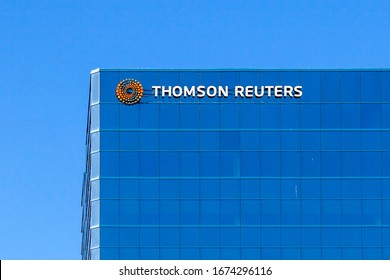 Toronto, Ontario, Canada- March 15, 2020: Thomson Reuters sign on the building in Scarborough, Toronto. Thomson Reuters Corporation is a Canadian multinational media conglomerate.