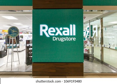 Toronto, Ontario, Canada - March 16, 2018: Rexall Drugstore sign. Rexall Drugstore is a chain of pharmacies in Canada,