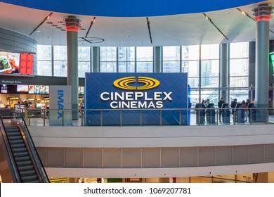 Toronto, Ontario, Canada - March 16, 2018: Sign of Cineplex Cinemas in Empress Walk. Cineplex Cinemas operated by Cineplex Inc. a Canadian entertainment company.