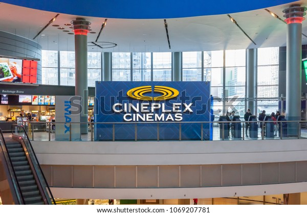 Toronto, Ontario, Canada - March 16, 2018: Cineplex Cinemas in Empress Walk in Toronto. Cineplex Cinemas operated by Cineplex Inc. a Canadian entertainment company.