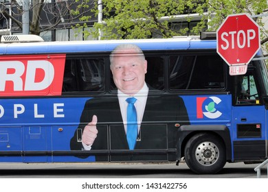 """Toronto, Ontario / Canada - May 12 2018 : The Doug Ford Campaign Bus in Weston"""