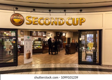 Toronto, Ontario, Canada - May 16th, 2018: A Second Cup Coffee shop in Toronto. Second Cup Coffee Co. is a Canadian coffee retailer operating more than 300 cafes across the country.