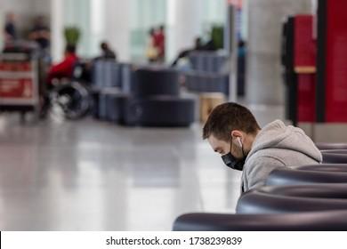 TORONTO, ONTARIO, CANADA - MAY 17, 2020: TORONTO PEARSON INTERNATIONAL AIRPORT DURING COVID-19 PANDEMIC.