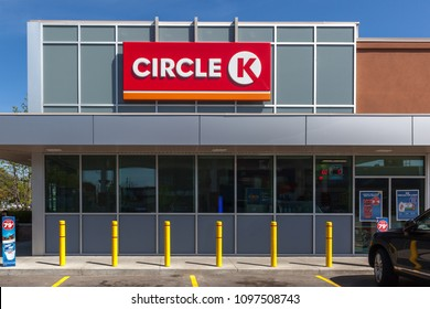 Toronto, Ontario, Canada - May 18, 2018: Sign of circle k. Circle K is an international chain of convenience stores.