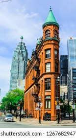 Toronto, Ontario / Canada - May 2015: The Gooderham Building, also known as the Flatiron Building, is an historic office building at 49 Wellington Street East in Toronto