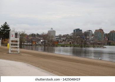 Toronto, Ontario, Canada: May 2019.  Barry City sits on the west shore of Lake Simcoe - The beach
