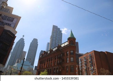 Toronto, Ontario, Canada: May 2019:  The Gooderham Building, also known as the Flatiron Building, is an historic office building.