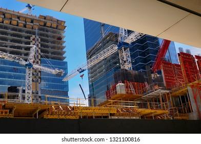 Toronto, Ontario, Canada - May 27, 2008: Ritz Carlton and Royal Bank of Canda tower construction Cranes at Simcoe Place Toronto
