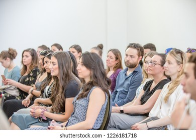 TORONTO, ONTARIO, CANADA - MAY 5, 2018: PEOPLE ATTEND WORKSHOP DURING EVENT AT WYCHWOOD BARNS.