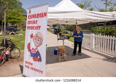 TORONTO, ONTARIO, CANADA - MAY 5, 2018: CANADIAN CELIAC PODCAST WITH SUE JENNETT BROADCASTING DURING EVENT AT WYCHWOOD BARNS.