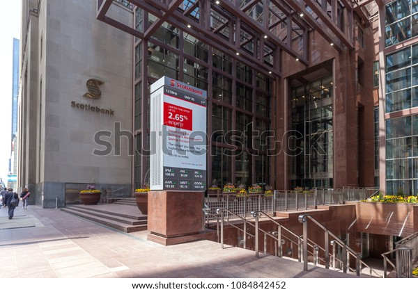 Toronto, Ontario, Canada - May 5th, 2018: Entrance of Scotiabank head office in Toronto's financial district, a Canadian multinational bank.
