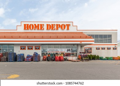 Toronto, Ontario, Canada - May 6th, 2018: Sign on the building of Home Depot.  The Home Depot, Inc. is an American home improvement supplies retailing company that sells tools, construction products,