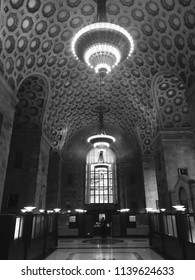 Toronto, Ontario / Canada – November 9, 2017: Black and white shot of the interior of the historic Commerce Court building in the financial district in downtown Toronto.