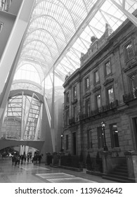 Toronto, Ontario / Canada – November 9, 2017: Black and white shot of the Allen Lambert Galleria within Toronto's famous Brookfield Place, with the interior built around an historic Toronto Bank.