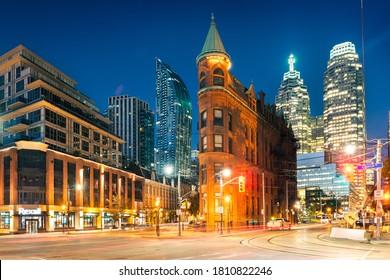 Toronto, Ontario, Canada, October 10, 2018 : Gooderham or Flatiron Building in downtown Toronto - Toronto, Ontario, Canada