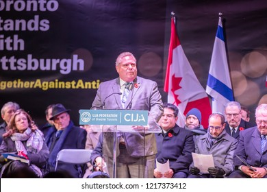 TORONTO, ONTARIO, CANADA - OCTOBER 29, 2018: Ontario Premier Doug Ford speaks at vigil held by Toronto Jewish Community for victims of Pittsburgh Synagogue Massacre.