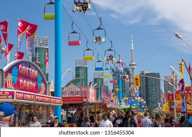 TORONTO, ONTARIO, CANADA - SEPT 1, 2017 The Canadian National Exhibition or The Ex as it's known locally, is a late summer annual fair with midway games, rides, food, and agricultural competitions.