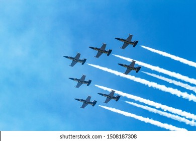 Toronto, Ontario Canada, Sept, 6, 2015, Canadian National Exhibition Annual Air show. Breitling Air demo team in a 7 plane formation.