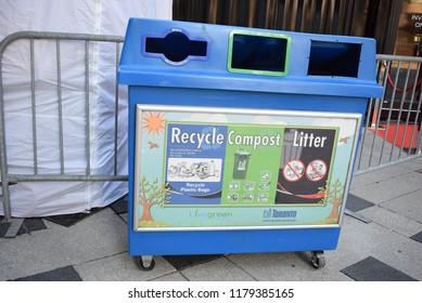 Toronto, Ontario / Canada, September 13th, 2018. Recycling Container.