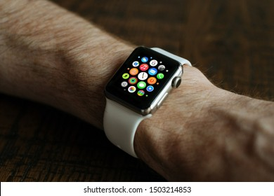 Toronto, Ontario / Canada - September 13th 2019 : Photograph of a person using an Apple Watch series 1/2/3.
