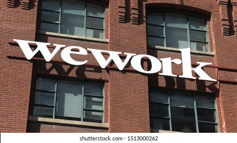Toronto, Ontario, Canada September 2019 WeWork co-working office space building in Toronto