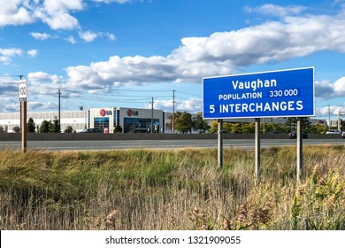 Toronto, Ontario / Canada - September 29th, 2018: City of Vaughan welcome sign on northbound Ontario Highway 400.