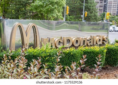 Toronto, Ontario, Canada - September 8, 2018: McDonald's sign at McDonald's Canada head office in Toronto, an American fast food company.