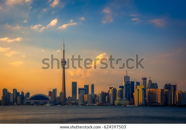 Toronto, Ontario, Canada -September14, 2012: Toronto City Skyline view from the inner Harbour at sunset.