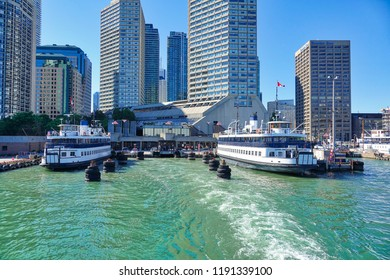Toronto, Ontario, Canada-10 June, 2018: Toronto Islands Ferry bringing passengers to the Central Toronto Islands and Hanlan's Point
