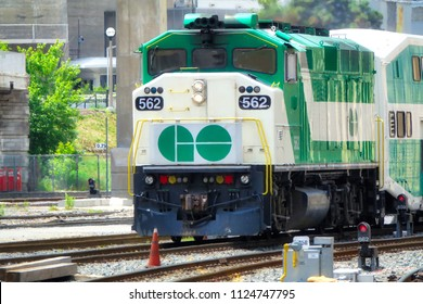 Toronto, Ontario, Canada-26 June, 2018: Toronto Go Train arriving at Union station