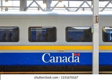 Toronto, Ontario, Canada-27 June, 2017: Toronto Union station VIA Rail terminal and railway tracks